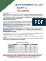 Ficha Tecnica 20w50 Sl
