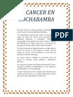 El Cancer en Cochabamba