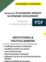 Barriers to Economic Growth & Economic Development