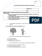 Evaluación Diagnóstica Ciencias Naturales