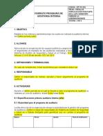 DOCUMENTO Formato de Programa de Auditorias Internas