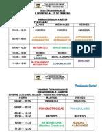 Horario Vacacional 2018 Padua