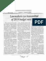 Philippine Star, Mar. 5, 2019, Lawmakers eye transmittal of 2019 budget next week.pdf