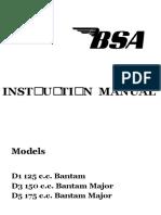BSA Bantam D1 125 D3 150 D5 175 Instruction Manual 1967 Cc