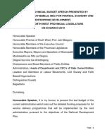Provincial Budget Speech, 2019