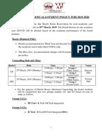 VIT-AP Hostel Room Allotment Policy 2019-2020 Final