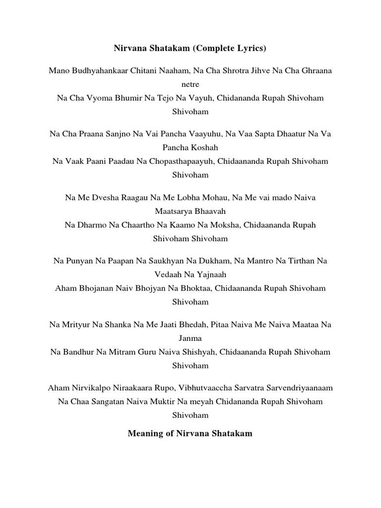 Nirvana Shatakam docx | Moksha | Eastern Philosophy