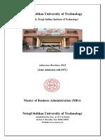 Admission Brochure Nsut Mba2019