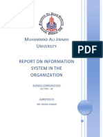 Report on Information System in the Organization System