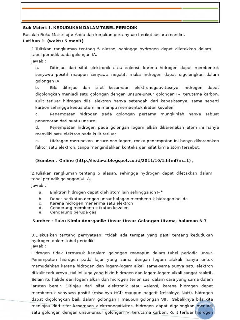 Lembar Kerja Mahasiswa / Kimia Anorganik Ii Hidrogen: Sub ...