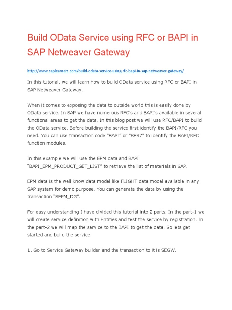 Build OData Service Using RFC or BAPI in SAP Netweaver