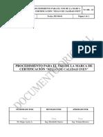 """PROCEDIMIENTO PARA EL USO DE LA MARCA DE CERTIFICACIÓN """"SELLO DE CALIDAD INEN"""" VC-PR-23-2015-06-01"""