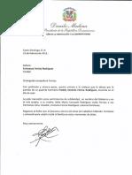 Carta de condolencias del presidente Danilo Medina a Francesca Ferrúa Rodríguez por fallecimiento de su hermano Freddy Antonio Ferrúa Rodríguez
