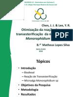 Otimização Da Reação de Transesterificação Da Microalga Monoraphidium