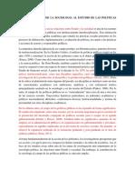 La Contribucion de La Sociologia Al Estudio de Las Politicas Públicas