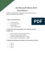 Examen de Microsoft Word 2010 Nivel Básico