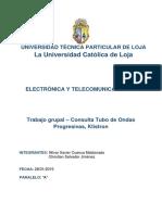 Consulta Klistron y Tubo de Ondas Progresivas