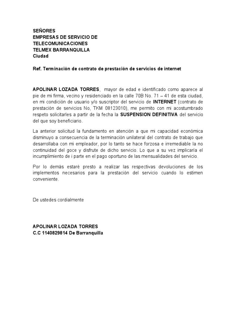Carta telmex Bod solicitud de chequera