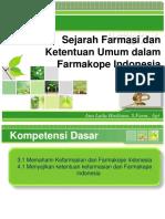 SEJARAH KEFARMASIAN DAN FARMAKOPE INDONESIA