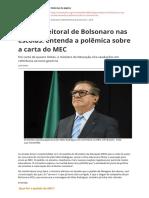 Slogan Eleitoral de Bolsonaro Nas Escolas Entenda a Polemica Sobre a Carta Do Mecpdf