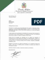 Carta de condolencias del presidente Danilo Medina a Karina Jiménez por fallecimiento de su padre, Froilán Antonio Jiménez (Anthony Ríos)