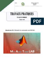 Comptes Rendu Travaux Pratiques Matlab