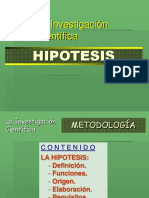 Estructura de una hipótesis de Investigación Científica