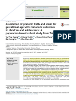 Association of Preterm Birth and SGA With Metabolic Outcomes in Children and Adolescents-A Population Based Cohort Study From Taiwan