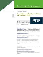 La Politica Del Universalimso de Edward Said (Analisis de Cultura e Imperialismo) Marcelo Topuzian