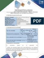 Guía de Actividades y Rúbrica de Evaluación - Fase 2 - Presentar Taller Relacionado Con Conceptos de La Unidad 1