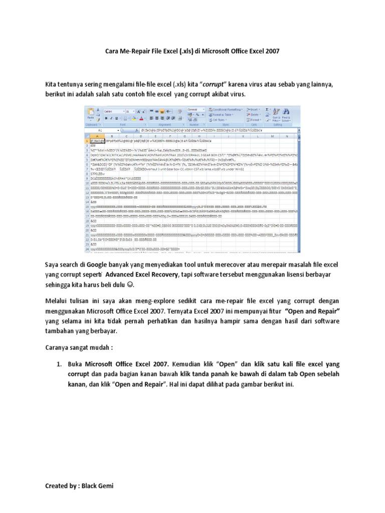 Cara Repair File Excel