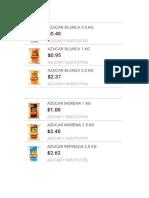Lista Algunos Precios Azucar