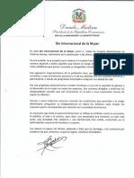 Mensaje del presidente Danilo Medina con motivo del Día Internacional de la Mujer 2019