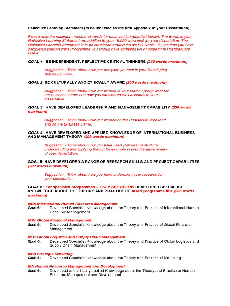 Reflective Learning Statement Information (1) | Goal | Thesis