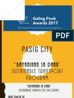 Pasig City Bayanihan Sa Daan Sustainable Transport Program