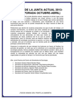 Balance de La Junta Actual 2013-2014
