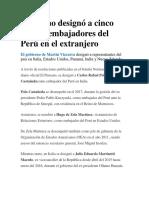 Gobierno designó a cinco nuevos embajadores del Perú en el extranjero.docx