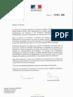 Lettre Gérald Darmanin trésorerie de Meyssac 8 octobre 2018