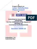 Measuring Customer Satisfaction - Hdfc
