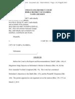 Vazzo v Tampa -Court Order
