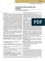 A Study of Patient-Physician Communication and Barriers in Communication