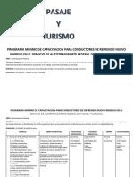 Programa Minimo de Capacitacion Para Conductores en El Servicio de Autotransporte