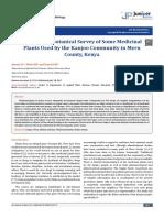 A Brief Ethnbotanical Survey of Some Medicinal Plants Used by KHUJO COMMUNITY I n Meru, Kenya
