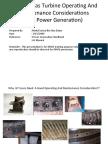 Basic of Gas Turbine Operating and Maintenance Considerations