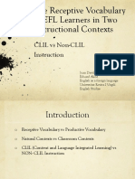 The Receptive Vocabulary of EFL Learners in Two Instructional Contexts