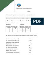 Evaluacion 6 Años Algebra