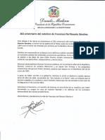 Mensaje del presidente Danilo Medina con motivo del 202 aniversario del natalicio de Francisco del Rosario Sánchez