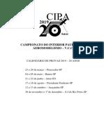 Calendário CIPA 2019 - 20 Anos