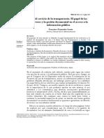 Al servicio de la transparencia. El papel de los  archiveros y la gestión documental en el acceso a la  información pública