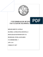 2019-1 Literatura Española I- Programa